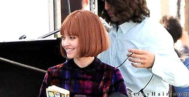 Amanda Seyfried chin length bob cut on the set of NOW