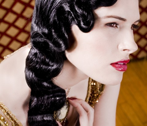 Finger waves hairstyle long hair