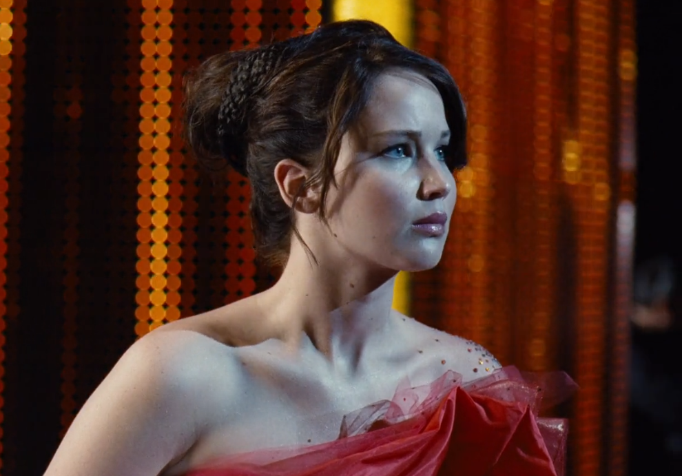 Jennifer Lawrence Katniss hunger games fancy updo hairstyle 2