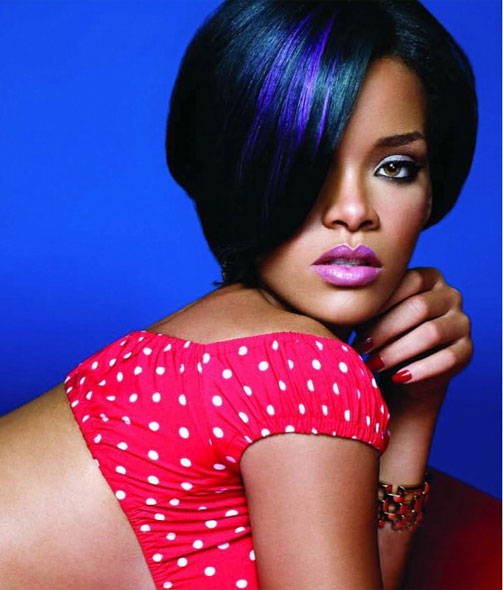 Rihanna blue highlight hairstyle