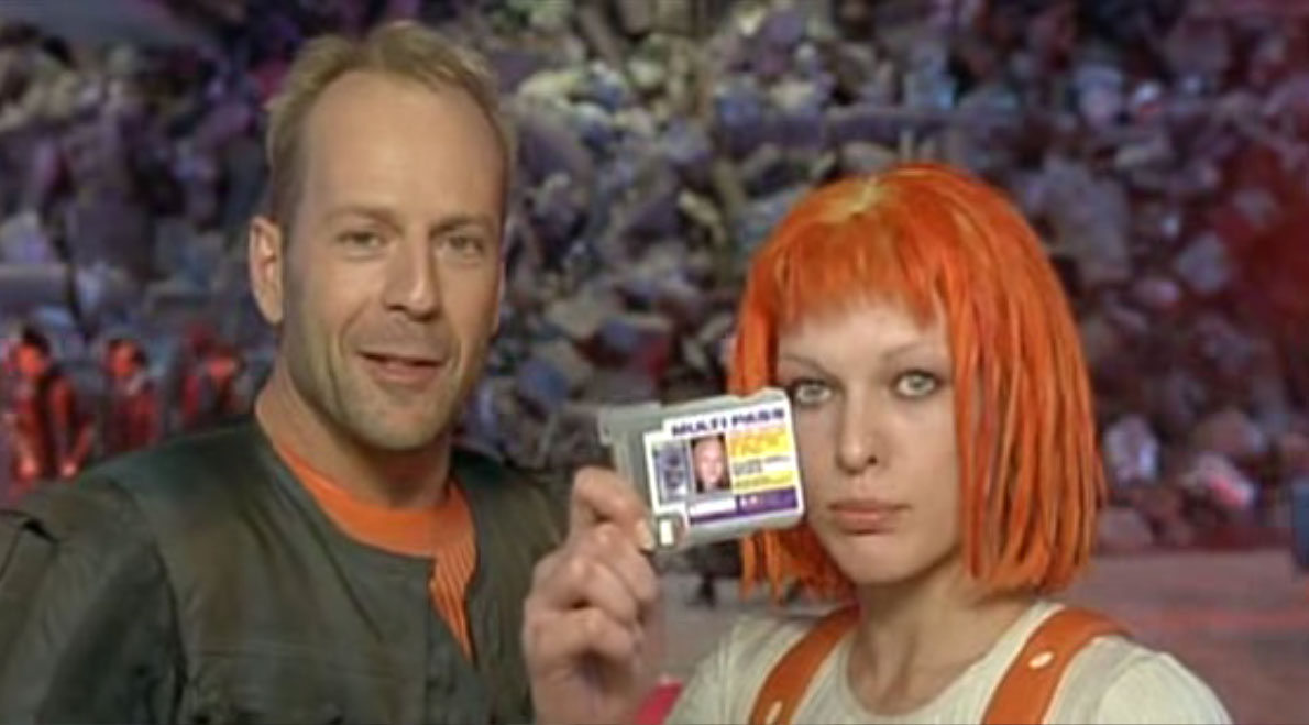 The Fifth Element Milla Jovovich and Burce Willis