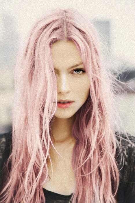 awesome pastel pink long messy hair model hair