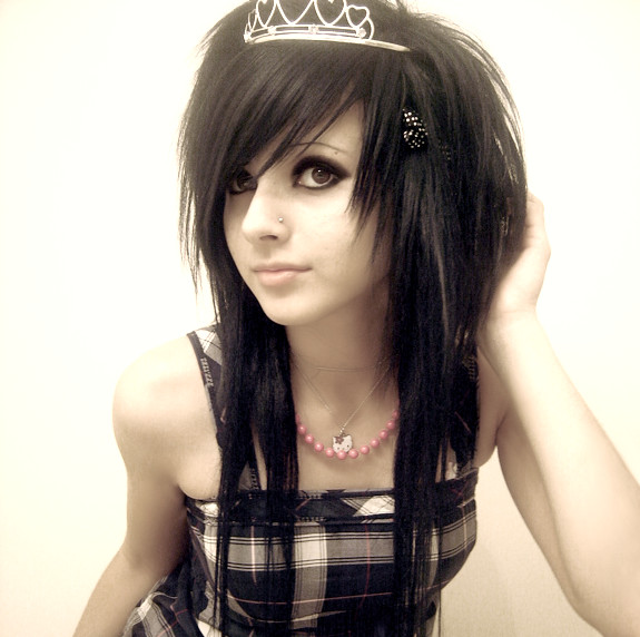 black scene emo hairstyle with tiara