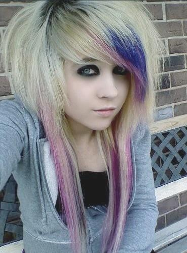 blonde with purple and blue highlights scene hairstyle
