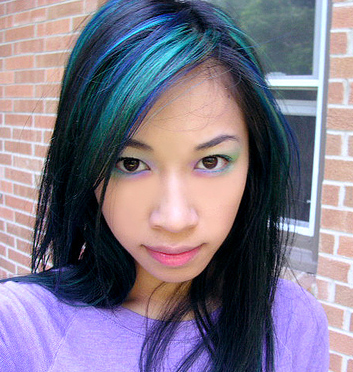 blue-green-black-hair