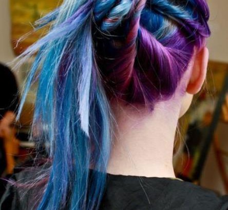 blue and purple updo