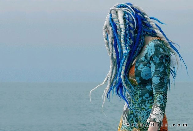 blue and white dreads