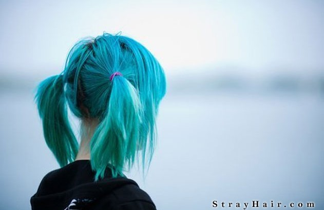 blue - green hair in pony tails