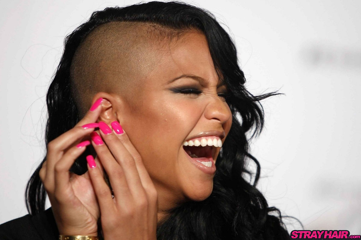 cassie hairstyles shaved side with hot pink nails