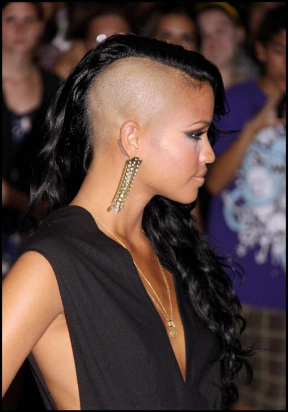 cassie shaved head hairstyle side view photo