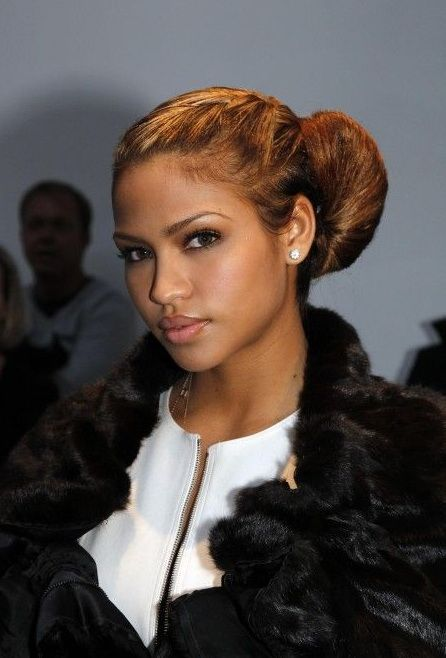 cassie ventura lightened long hair in bun updo