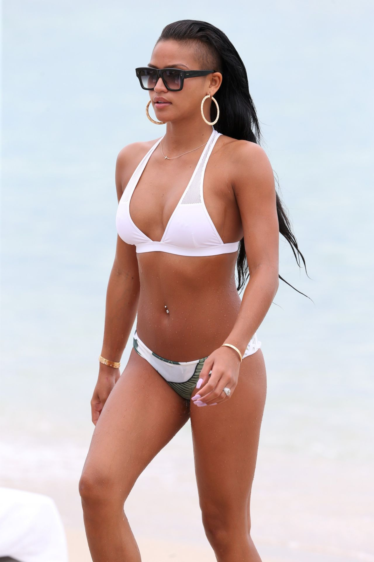 cassie ventura white bikini miami long hair shaved undercut