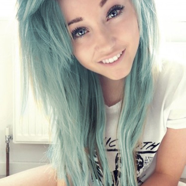cute mint light green hair color