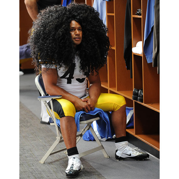 football star Troy Polamalu hair