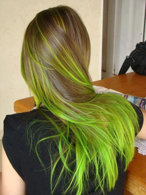 highlighter green yellow hair ends