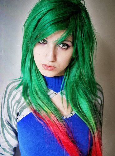intense bright green hair with red tips