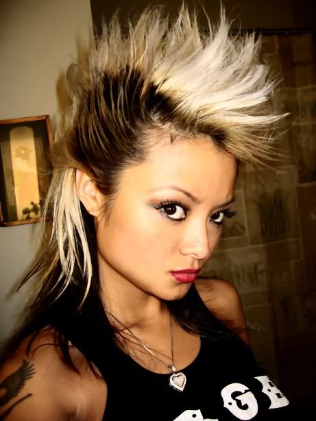 intense girl mohawk multi color