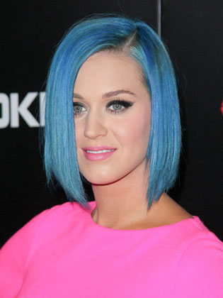 katy perry blue long bob cut hair