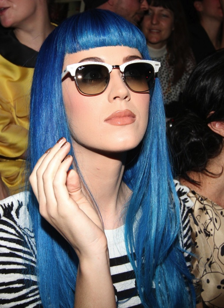 katy perry blue hair paris fashion week