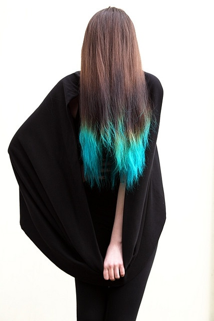 long brown hair with teal turquoise tips