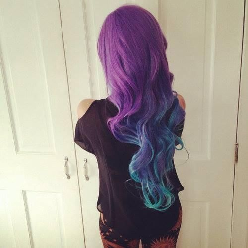 long purple hair with blue ends