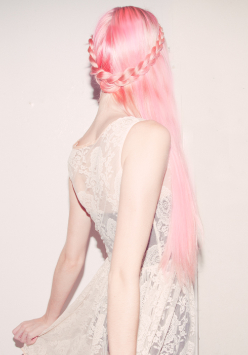 long pink hair with braid
