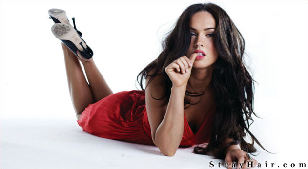 megan fox long wavy hair for a model photo shoot