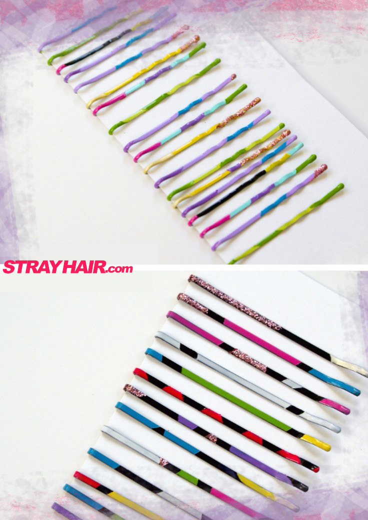 nail polish painted diy cute bobby pins