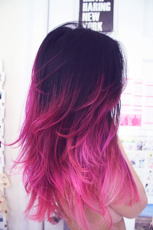 natural to pink ombre color hairstyle