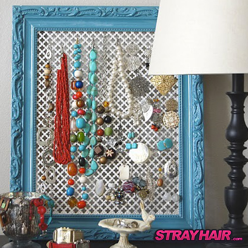 ornate metal mesh screen in frame hair accessory jewlery storage