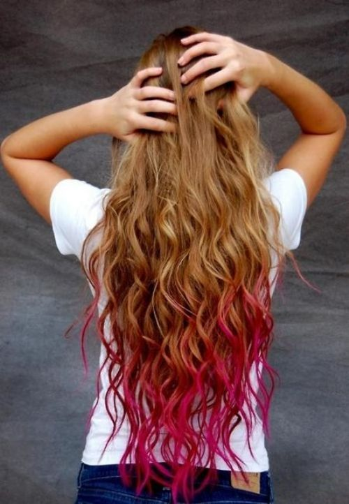 pink tips dirty blonde hair