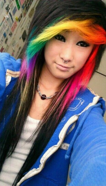rainbow scene look hairstyle color