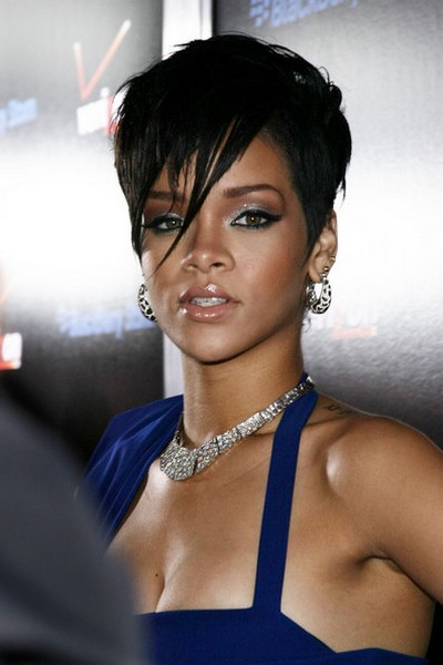 rihanna varied length bangs hairstyle