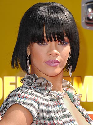 rihanna wierd bob cut long bangs