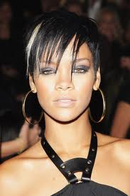 rihanna with white streak of hair