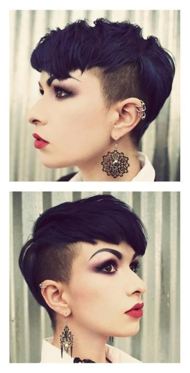 short undercut black hair