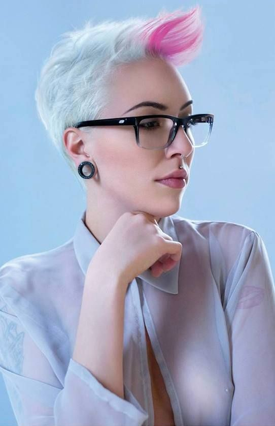 short white hair with pink tip