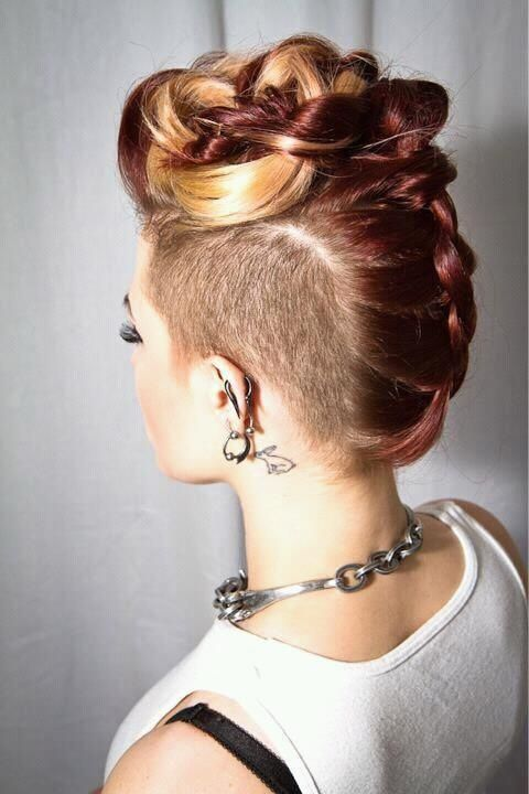 side undercut braided updo hairstyle