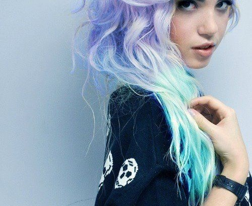 super cute lavender and teal ombre hair dye