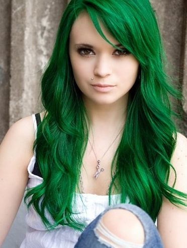 super intense green hair