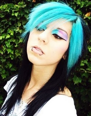 teal blue green emo hair