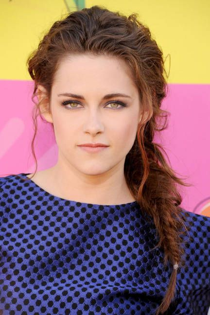 Kristen Stewart fishtail braid messy