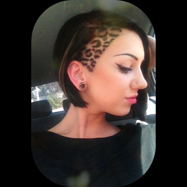 Leopard print side undercut hair design