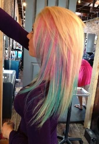 fun blonde multi-color temporary hair color