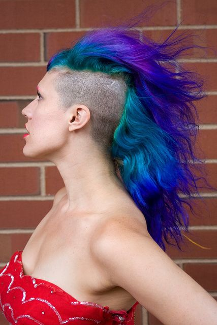purple turquoise teal mohawk mane hairstyle