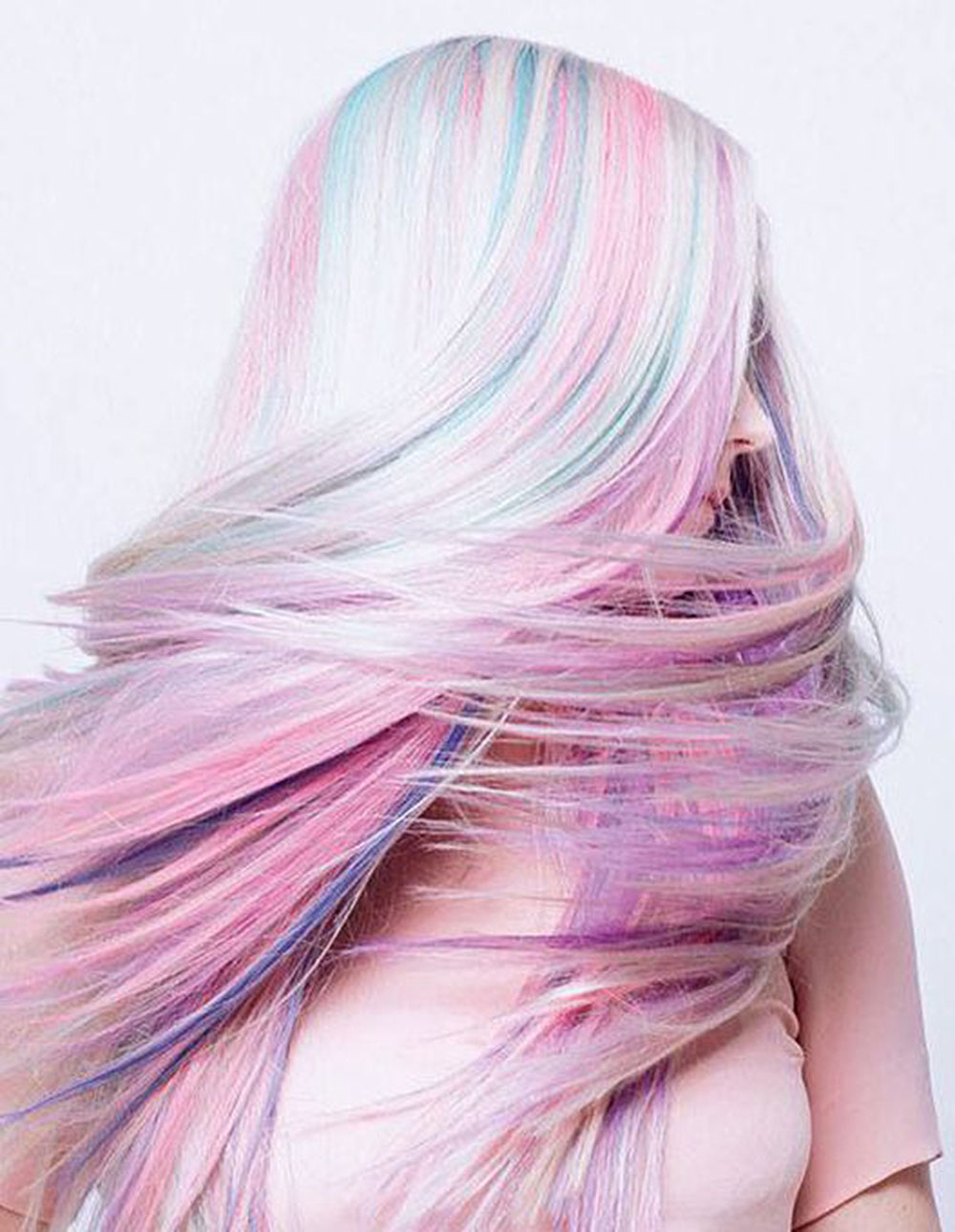 long opal pastel rainbow hair color