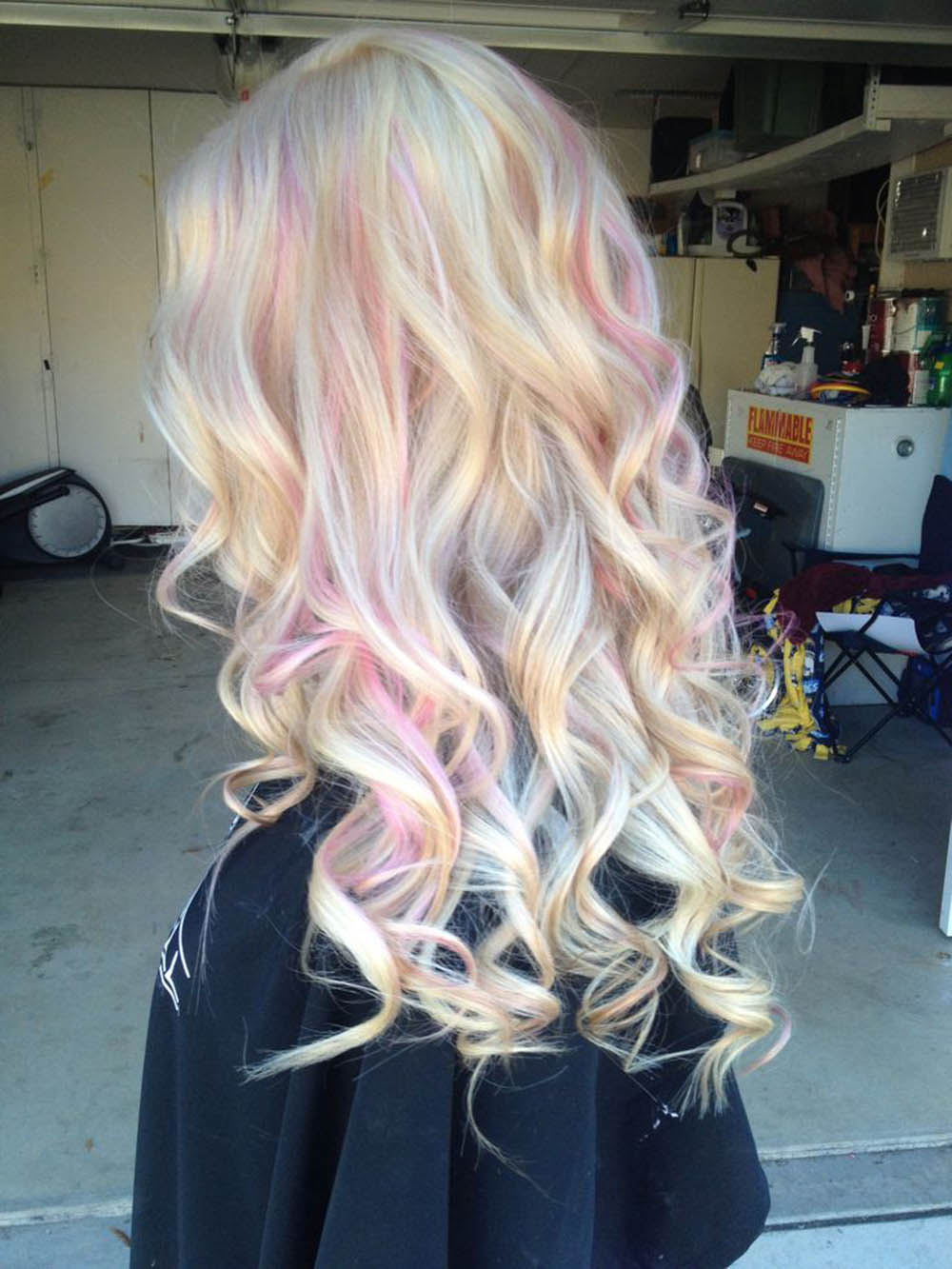 the gallery for gt blue and pink highlights in blonde hair