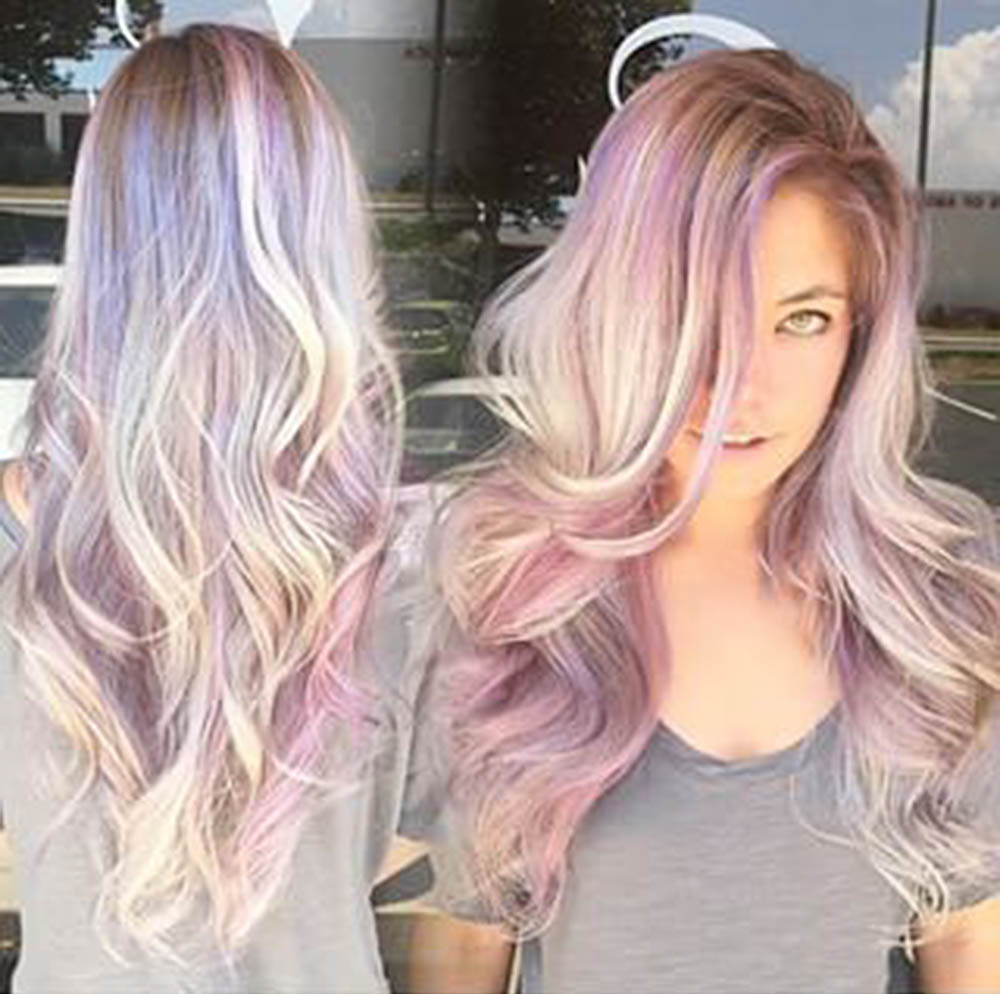 rainbow sand art hair color