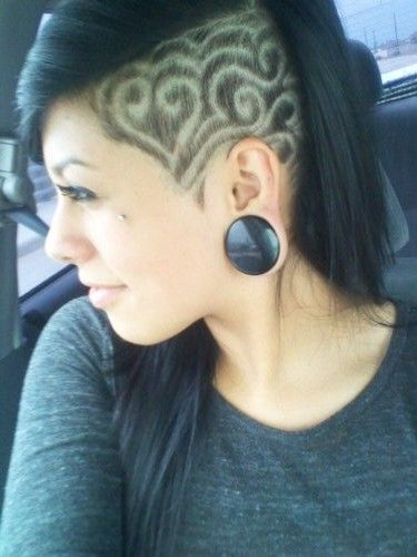 side undercut heart swirls design