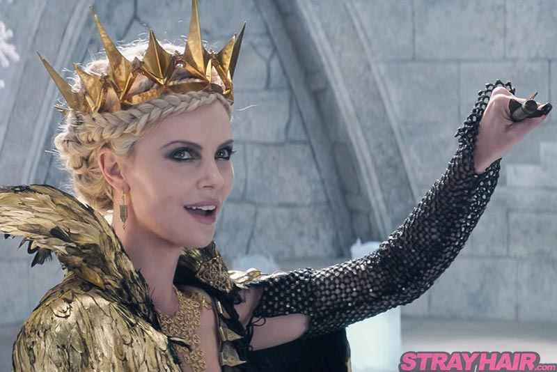 Charlize Theron Ravenna Braided Hairstyle with Gold Crown The Huntsman Winters War